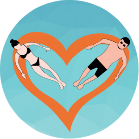 Couple in pool illustration - Karen Doherty couples connection therapy - Brighton & Hove